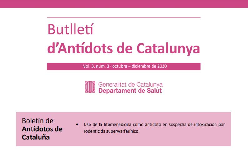 El uso de la fitomenadiona en una intoxicación por rodenticida superwarfarínico es el tema del nuevo Butlletí d'Antídots de Catalunya (BAC)